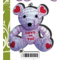 "Peluche ourson lycra 18 cm ""message love de toi"" (773)"