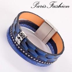 Bracelet aimanté 2 cm Bague et clous de métal sur cordons croco bleu (1861)