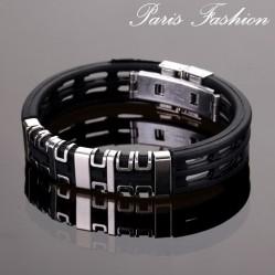 Bracelet homme fashion noir roue argentée 1,5 cm (1872)