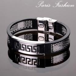 Bracelet homme fashion rigide noir tambour antique argenté 1,5 cm (1884)