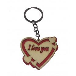 """Porte clé Coeur en bois """"I love you"""" (2095)"""