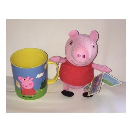Peluche Peppa Pig rouge 17 cm et son mug 8,3 cm (2176)