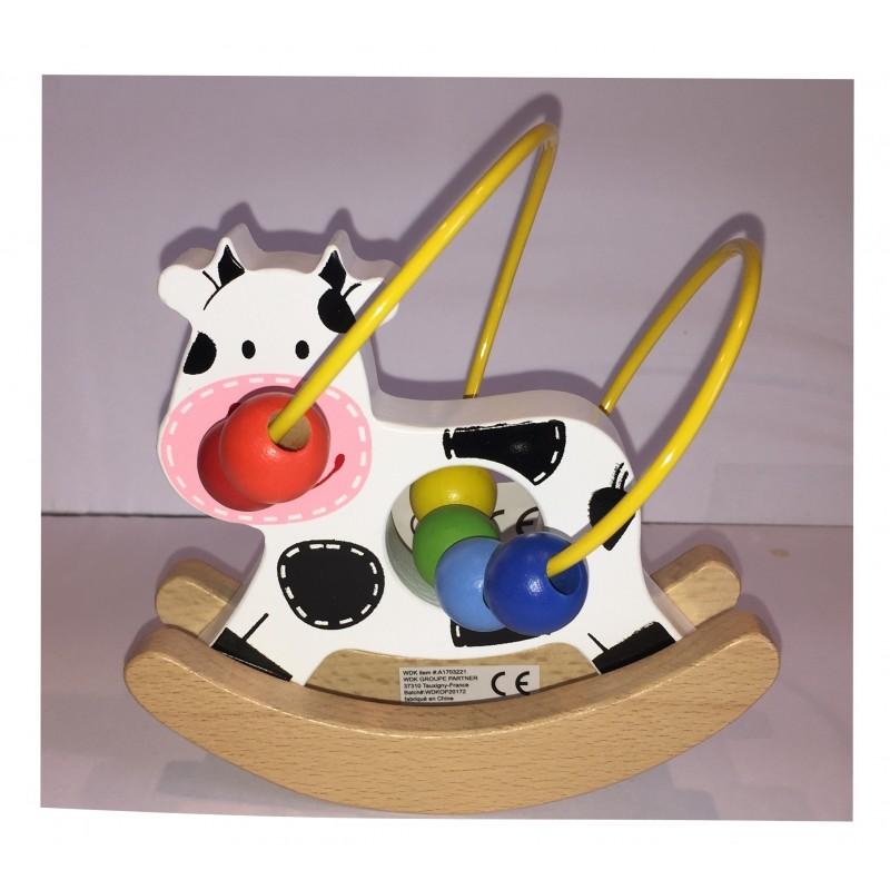 La Vache : Petit Animal en bois boulier et balancier (2257)