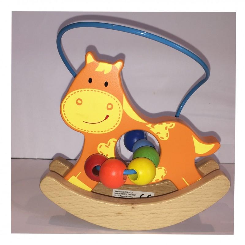 Le Cheval : Petit Animal en bois boulier et balancier (2259)