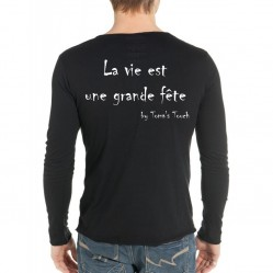 """T-shirt Homme manche longue """"La vie est une grande fête"""" by Toma's Touch (1220)"""
