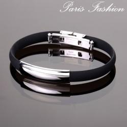 Bracelet homme  fashion noir espacé argenté 1 cm (1874)