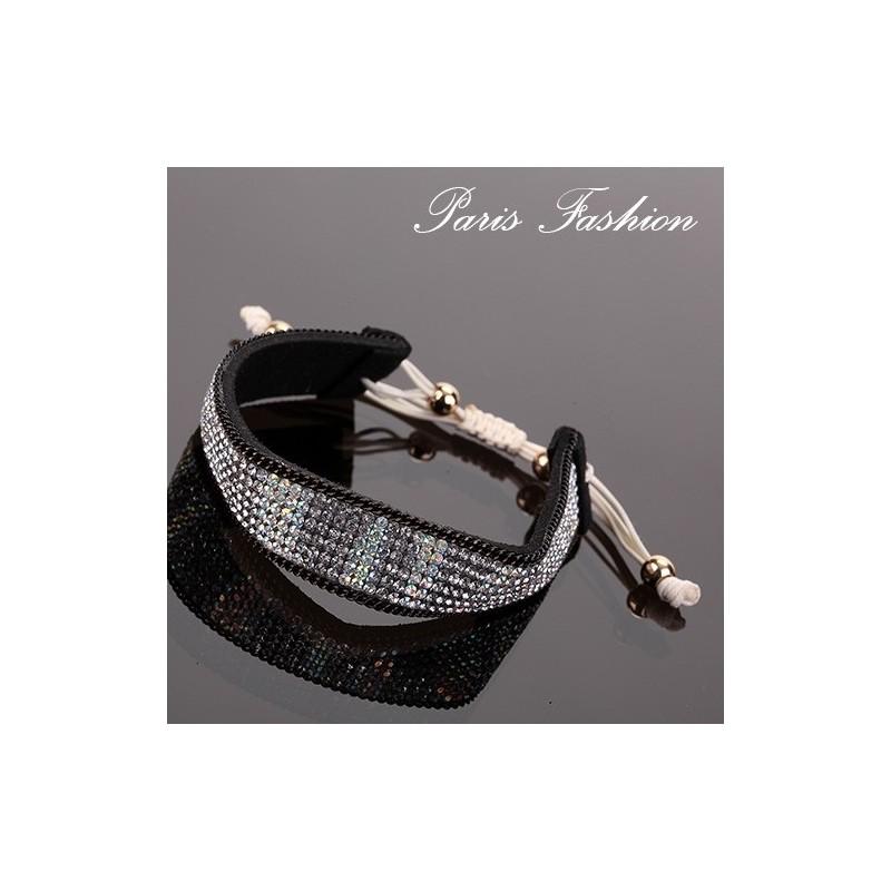 Bracelet à fermeture macramé 1,6 cm Strass cristallin sur ruban noir feutré (1892)