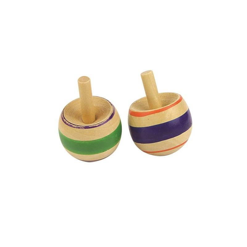 Jouet de Premier Age - 2 Mini Toupies en Bois (2116)