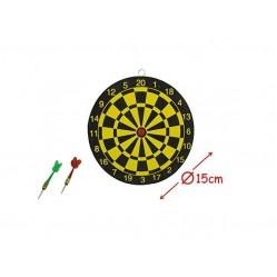 Jeu de fléchettes Cible a deux faces diametre 15 cm + 2 fléchettes.