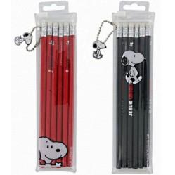 6 crayons a papier snoopy 19 cm rouge ou noir papeterie scolaire  (2514)