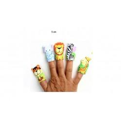 Lot de 5 marionnettes à doigt animaux zoo (2564)