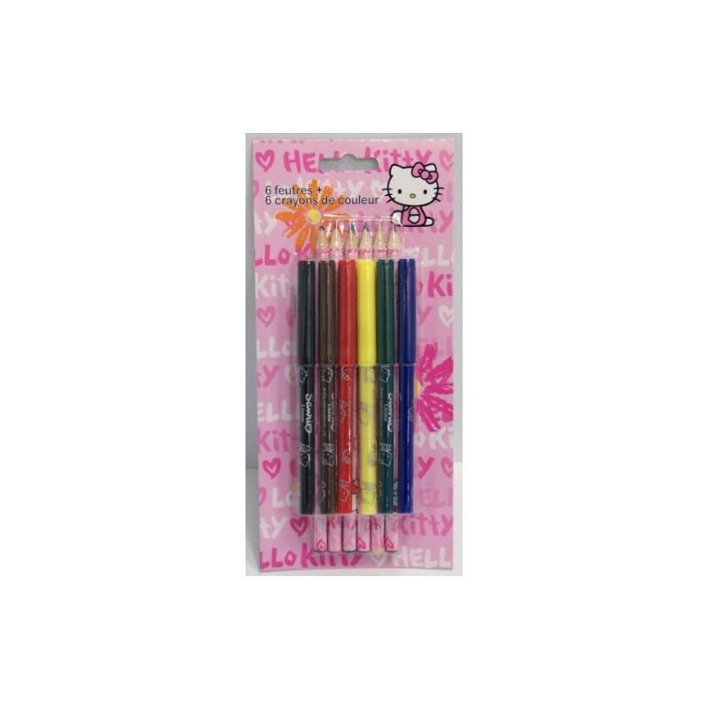 6 Feutres + 6 Crayons de Couleur - Hello Kitty  (1378)