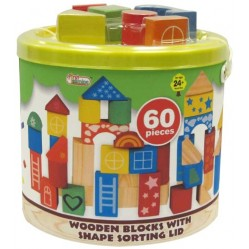 Baril construction bois 60 pièces (2586)