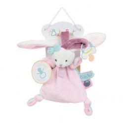 Baby'Nat Doudou pantin Lapin rose avec attache tétine  (2646)