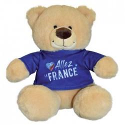 """Jemini : Peluche ours nounours  tout doux 23 cm """"allez la France""""  (2714)"""