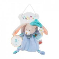 Baby'Nat Doudou pantin Lapin bleu avec attache tétine  (2729)