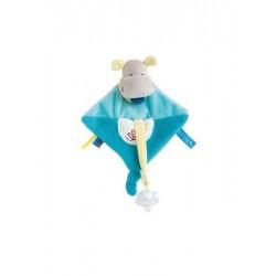 Baby'Nat Doudou pantin Hippopotame avec attache tétine  (2822)