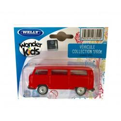 Welly : Vehicule miniature 1/60 en métal Volkswagen Bus T2 1972 (2867)