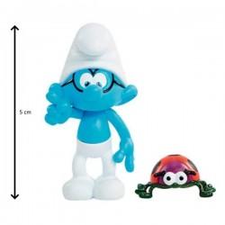 Figurine schtroumpf à lunette 5 cm et son compagnon snappy bug (2916)