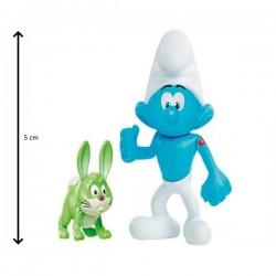 Figurine schtroumpf Costaud 5 cm et son compagnon Bucky (2917)