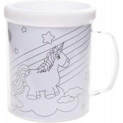 Tasse à colorier pour enfant, 3 motifs de licorne (2945)