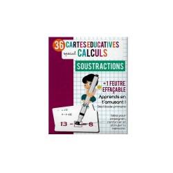 36 Cartes educatives effacables - calcul - soustractions (2497)
