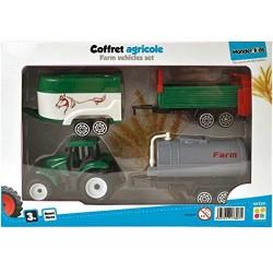 Wdk Partner  - Coffret Agricole 4 Pièces modele aleatoire 1 tracteur et 3 remorques  (3094)